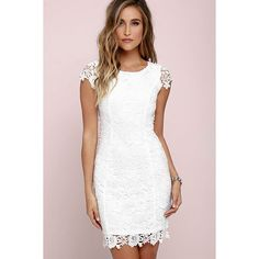 Lulus Hidden Talent Backless Ivory Lace Dress (3,745 INR) ❤ liked on Polyvore featuring dresses, white backless dress, backless cocktail dresses, bodycon cocktail dresses, bodycon dresses and white body con dress