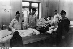 German soldiers wounded at Narvik being transported back to Germany on Wilhelm Gustloff in July 1940.