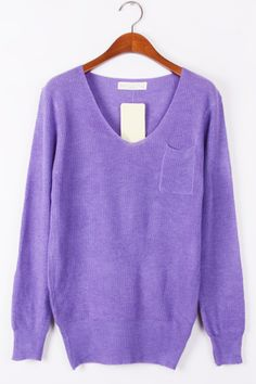 Whole Color Patched Pocket Sweater - OASAP.com