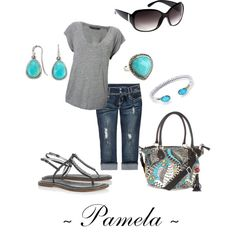 Turquoise  Grey, created by pamela53070 on Polyvore, I saw this product on TV and have already lost 24 pounds! http://weightpage222.com