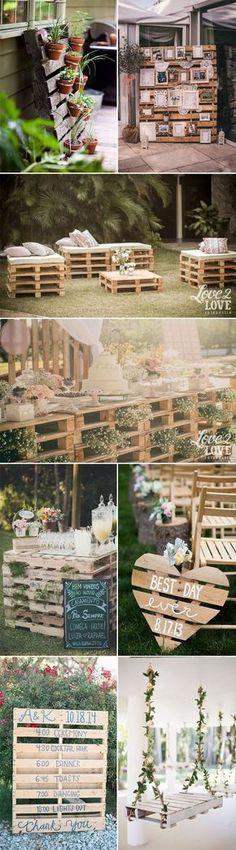 rustic wooden pallets wedding ideas / http://www.himisspuff.com/rustic-wood-pallet-wedding-ideas/