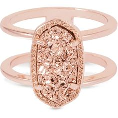 Kendra Scott Elyse Ring in Rose Gold (€58) ❤ liked on Polyvore featuring jewelry, rings, accessories, rose gold jewelry, kendra scott rings, oval stone ring, 14 karat gold ring and drusy ring