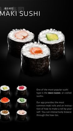 sooshi is a new iPhone application all about one of the most delicious food.Whether you are new to the whole topic or you are already a fan of sushi: You will find tons of information about what sushi is, how to prepare sushi and where to find the best s… Sushi One, Veggie Sushi, Diy Sushi, Sushi Party, Food Graphic Design, Food Poster Design, Food Truck Design, App Design, Sushi Bar Menu