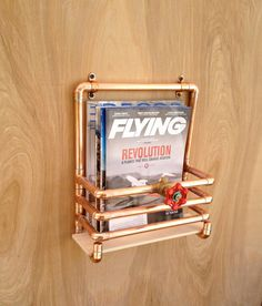 Copper Magazine Rack, Industrial Design Modern Wall Mounted, Man Cave Copper Magazine Rack, Gift for Him, Storage Wall Rack Steampunk Design