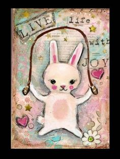 Bunny Folk art WHimsY painting with beeswax by pinkglitterfae, $28.00