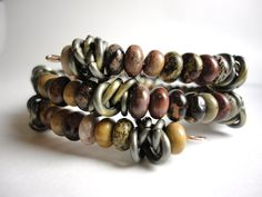"""For the man in your life - The """"Gentleman's Brownstone"""" Jasper and Chain Wrap Bracelet"""