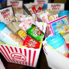 """What can you give a kid that has too many toys? Gift baskets are a great idea. Just made """"movie night"""" baskets for my daughter and nieces. This makes a great Christmas gift. My cost let basket, $7.19! This makes a great, low cost Christmas gift. Basket includes: Movie, popcorn, ginger ale, chocolates, candy, hot chocolate, design your own mug, hot chocolate packets, and peanut butter crackers."""