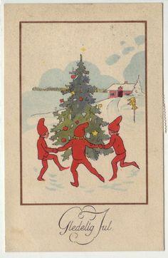 Gledelig Jul- (nisser danser treet) brukt BUREAU AMB. OSLO-CHARLOTTENBERG 1920