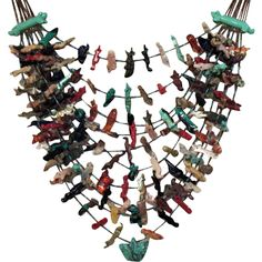 Rare Zuni American Indian Fetish Necklace~153 Fetishes~220 Grams