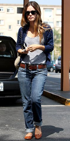 Rachel Bilson wearing Anlo boyfriend jeans with a gray tank, ruffled cardigan, camel ballet flats and a crochet Chanel bag.