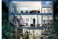 Surrounded by exotic plants, the Vertical House is a modern oasis in the middle of Dallas. The structure rises 60-feet tall, flanked by a pair of screened walls that provide both shade and privacy. In contrast to the opaque front...