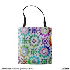 Casablanca Rainbow tote bag. A bohemian rainbow inspired pattern from an old Moroccan Tile.