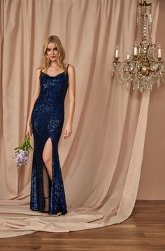 #Sequin Cowl Neck #Gown