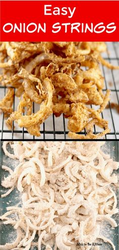 Side dish recipes 532269249711779731 - Easy Onion Strings are a crispy and delicious addition to burgers and sandwiches or serve them up as an irresistible side dish or appetizer! Veggie Side Dishes, Vegetable Dishes, Vegetable Recipes, Food Dishes, Easy Side Dishes, Hamburger Side Dishes, Side Dishes With Hamburgers, Side Dishes For Burgers, Veggie Recipes Sides