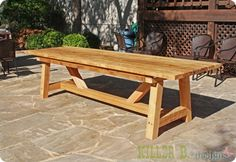 DIY 10' Outdoor Wood Dining Table for only $230. Includes tutorial.