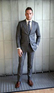 Shiny Charcoal Suit With Brown Shoes Google Search Menssuits
