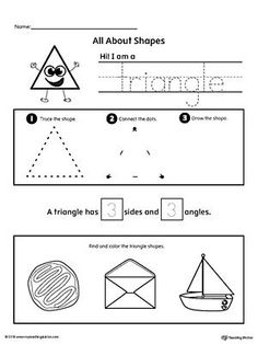 *FREE* All About Triangle Shapes Worksheet.Learn all about the triangle shape in this math printable worksheet. Practice tracing, drawing, and coloring pictures of triangle shapes. Shapes Worksheet Kindergarten, Printable Preschool Worksheets, Shapes Worksheets, Free Kindergarten Worksheets, Teacher Worksheets, In Kindergarten, Preschool Shapes, Kids Shapes, Phonics Activities