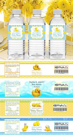 $0.85 each Duck Baby Shower Rubber Ducky Water Bottle Labels Stickers. Save 15% See How>>http://bit.ly/1LzrzLf #love #cute #babyshower #rubberduck