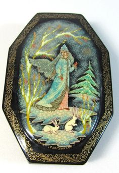 "Russian Lacquer Box Tilted ""Black Snow Maiden & Rabbit""  Fairy Tale 