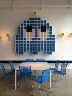 > www.samaryounes.com < For more inspiration follow me on IG: THEGYPSETTER   Montana, press preview at showroom, Pakhus 48, Copenhagen. Using the shelving system moduls to create a great packman wall. Great humor! #ThreeDaysOfDesign
