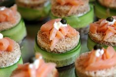 Cucumber and Smoke Salmon Finger Sandwiches with Creme Fraiche and Cream Cheese Spread