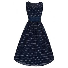 'Cindy' Classy Yet Sassy Navy Polka Dot Print Vintage 50's Party Dress ($39) ❤ liked on Polyvore featuring dresses, navy, blue dress, vintage circle skirt, chiffon dress, polka dot dress and blue cocktail dress