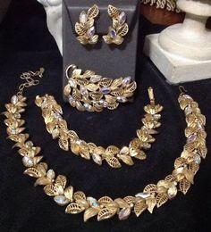 vintage kramer rhinestone jewelry Demi Parure Set  #kramer