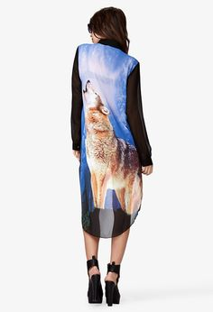 Black and Blue High-Low Wolf Graphic Shirt