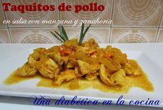 Una diabética en la cocina: Taquitos de pollo en salsa con manzana y zanahoria