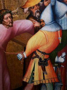 Details from the Grudziądz Polyptych by circle of Master of the Třeboň Altarpiece, ca. 1390, National Museum in Warsaw. © Marcin Latka #detail #grudziadzpolyptych #tebonaltarpiece #artinpl #nationalmuseuminwarsaw #wittingau #knight #medieval #dagger #barbute #helmet #14thcenturyfashion 14th Century, National Museum, Knight, Medieval, Warsaw, Detail, Helmet, Painting, Hockey Helmet