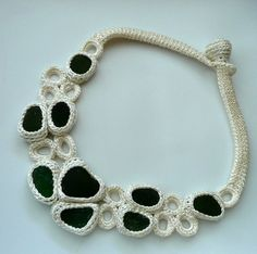 crochet - sea glass necklace by astash - like the simple closure and organic shapes.