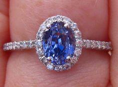 Blue Sapphire Engagement Ring Cornflower Blue by JuliaBJewelry