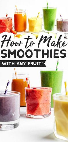 The ultimate guide for how to make a smoothie (using any ingredient you have on hand in your kitchen!) + 9 easy smoothie recipes! These healthy smoothie ideas make a great, flavor packed on the go breakfast or snack. Perfect for the whole family! #smoothie #drink #beverage #breakfast #vegan #glutenfree