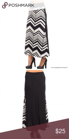 "Black & White Chevron Paneled Maxi Skirt * Black & white chevron front panel   * Solid black back panel  * Features a thigh-high slit on the left side  * Comfortable elastic waistband * Self: 92% Polyester, 8% Spandex  * Contrast: 96% Polyester, 4% Spandex  * Made in USA * Measurements:     * Small:          * Length: 37""         * Waist: 24""         * Hips: 32""     * Medium:          * Length: 37""         * Waist: 26""         * Hips: 34""     * Large:          * Length: 37""         * Waist…"