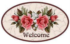Vintage welcome sign pink roses printable Decoupage Vintage, Vintage Diy, Decoupage Art, Vintage Tags, Shabby Vintage, Vintage Labels, Vintage Flowers, Vintage Prints, Molduras Vintage