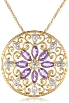 18k Yellow Gold Plated Sterling Silver African Amethyst and Diamond Accent Medallion Pendant Necklace, 18″ | Sparkly Things Jewelry