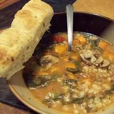 Sausage Barley Soup Allrecipes.com  (Slow Cooker 6-8 hours on low) Reviewers suggested increasing the barley (triple or quadruple) and adding fresh spinach at the end of the cook time instead of the frozen at the beginning.  Others also added in a can of Italian tomatoes.