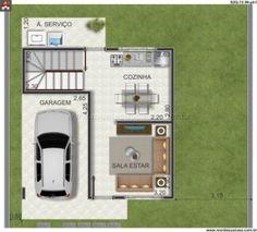 Planta humanizada sobrado 2 quartos My House Plans, Small House Plans, House Floor Plans, Small House Design, Modern House Design, Small Villa, Duplex Plans, Apartment Layout, Conceptual Design