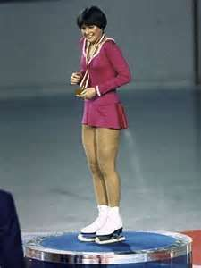 Dorothy Hamill on the dais after having received her Olympic Gold Medal in 1976.