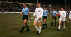 England 2 Uruguay 1 in 1964 at Wembley. The teams come out for the friendly.