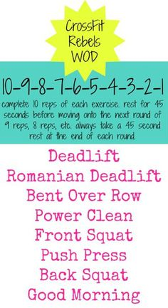 CrossFit Rebels WOD Workout