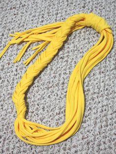 Yellow braided t-shirt scarf