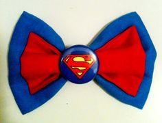 Superman/Supergirl Superhero Hair Bow Clip by DesignsByMoxieMae, $6.00