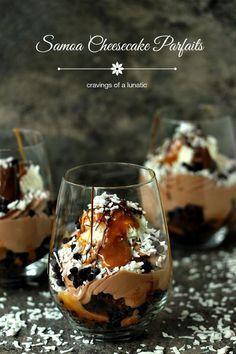 "Samoa ""No Bake"" Cheesecake Parfaits - so easy and absolutely delicious"