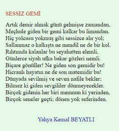 Yahya Kemal Beyatlı - SESSİZ GEMİ