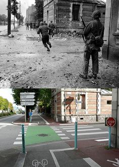 Then and now... Troops of the 315th Inf. Rgt of the 79th US Inf. Div advance up the Avenue de Paris at Cherbourg, in search of German resistance. Four infantrymen are up ahead, level with the public gardens.