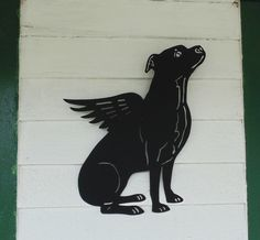 Winged Pit Bull Metal Sign (Natural Ears)