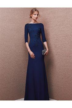Modest Mermaid Bateau Neck Long Navy Blue Chiffon Beaded Evening Dress With Sleeves