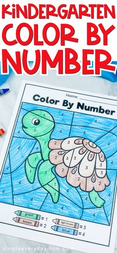 These ocean animal color by number printable worksheets are a fun and simple activity for kids to do! Use with preschool, pre k and kindergarten children at home or in the classroom. Color Activities Kindergarten, Art Activities For Toddlers, Ocean Activities, Numbers Kindergarten, Pre K Activities, Educational Activities For Kids, Animal Activities, Classroom Activities, Kindergarten Worksheets