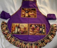 Purple Wine Apron by whimseycottage on Etsy, $25.00